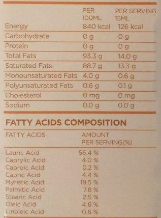 cold pressed organic coconut oil label