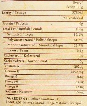 Refined sunflower oil. Trans fat 0.1%.